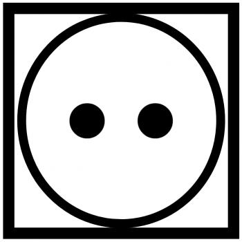 две точки в кружке в квадрате - сушка вещей при нормальной температуре