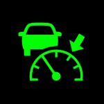 Зеленый спидометр со стрелкой и машиной - адаптивный круиз-контроль