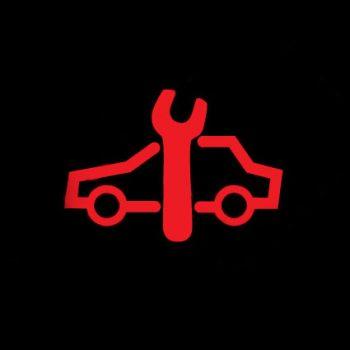 Машина с гаечным ключом - сбой в работе авто, необходим сервис.