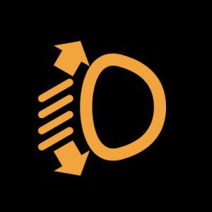 Желтая фара с лучами и стрелками - автоматический наклон фар неисправен