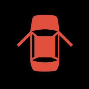 Красная машина с открытыми дверями - открыта дверь