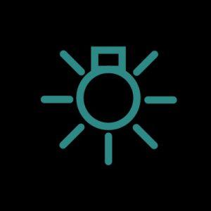 Зеленая лампочка с лучами - индикатор наружного освещения