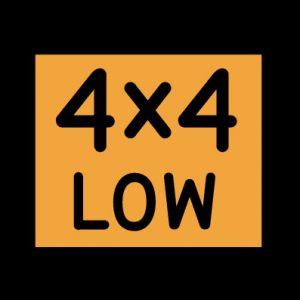 4х4 LOW на желтом квадрате - полный привод на пониженной передаче