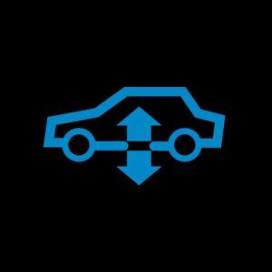 Синяя машина с 2 вертикальными стрелками - предупреждение пневматической подвески