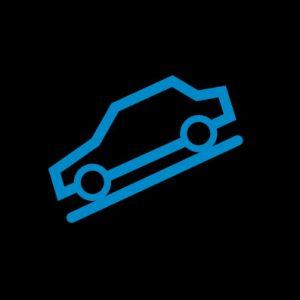 Синяя машина на наклонной линии - система помощи спуска с горы