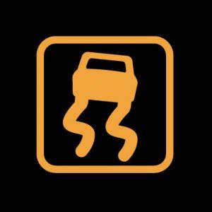 Машина с двумя зигзагами в желтом квадрате - система стабилизации активирована