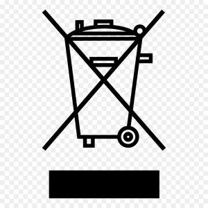 Бак на колесиках перечеркнутый двумя линиями и черный прямоугольник