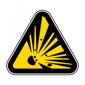 Веер летящих осколков в желтом треугольнике