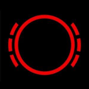 Красный кружок с черточками по бокам