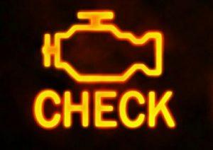 Желтый значок двигателя и надпись под ним check